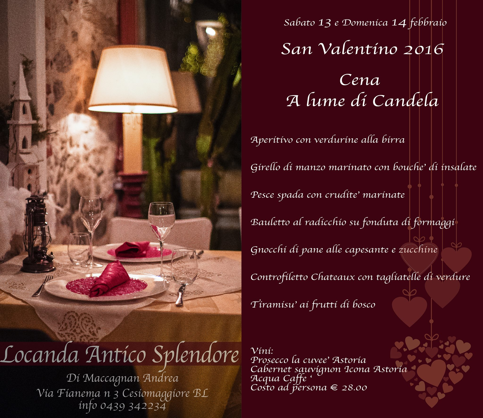 San Valentino 2016 Menu Locanda Antico Splendore